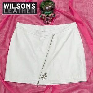 🦄🆕 Wilsons Leather White Maxima Mini Skirt ~ 12